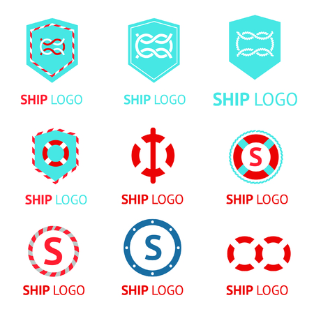 Set of vector logos with sea knot and Lifebuoy in marine style