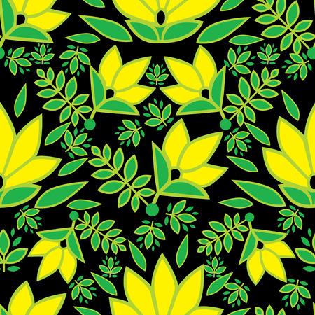 botanics: Vector seamless floral pattern with colorful decorative flowers design elements