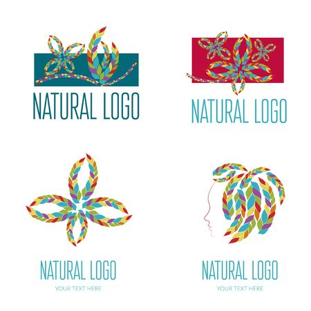 Set of vector icon with colorful pattern illustration.