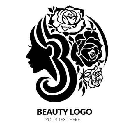 Vector illustration of woman with beautiful hair and flowers - can be used as a logo for beauty salon. Fashion. Beauty. Style logo. Flowers.