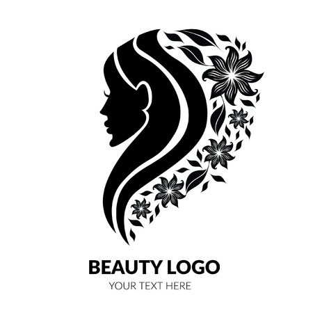 Vector illustration of woman with beautiful hair and flowers - can be used as a logo for beauty salon. Concept of natural beauty. Fashion. Beauty. Style logo. Flowers.