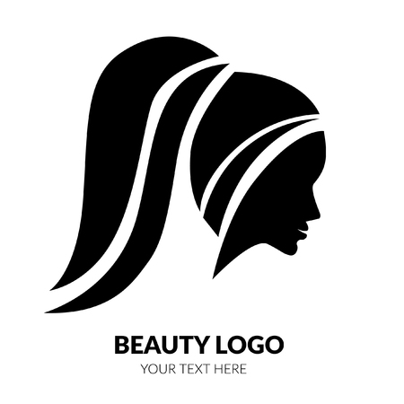Vector illustration of woman with beautiful hair - can be used as a logo for beauty salon. Fashion. Beauty. Style logo