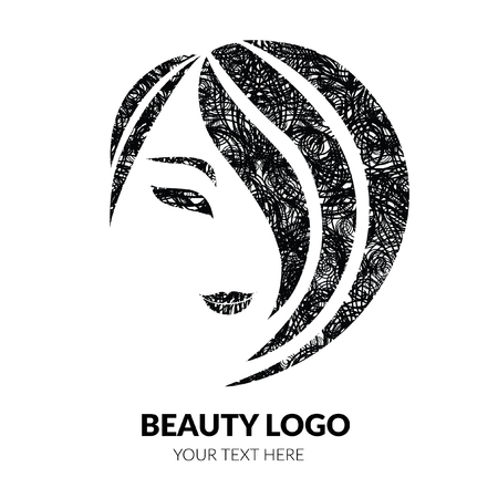 Vector illustration of woman with beautiful hair with grunge texture - can be used as a logo for beauty salon. Fashion. Beauty. Style logo