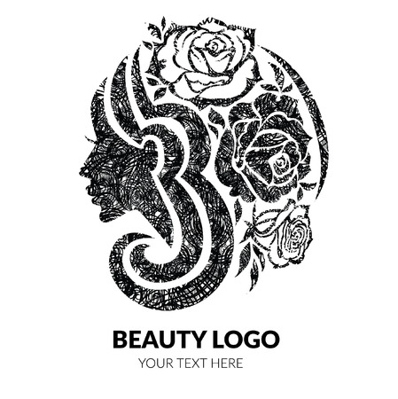 Vector illustration of woman with beautiful hair and flowers with grunge texture - can be used as a logo for beauty salon. Fashion. Beauty. Style logo. Flowers.