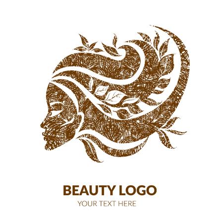 Vector a ilustração da mulher com cabelo e as flores bonitos com textura do grunge - pode ser usado como um logotipo para o salão de beleza. Moda. Beleza. Logotipo do estilo. Flores. Foto de archivo - 93844274
