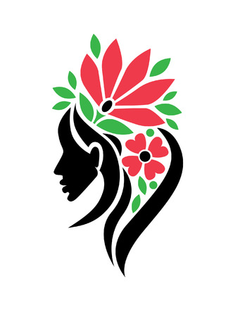 Vector illustration of woman with beautiful hair and flowers - can be used as a icon for beauty salon. Fashion. Beauty. Style icon. Flowers. Stock Vector - 93811069
