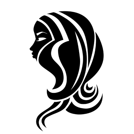 Vector illustration of woman with beautiful hair and flowers - can be used as a icon for beauty salon. Fashion. Beauty. Style icon. Flowers.