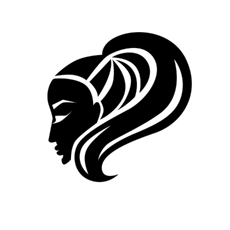 Vector illustration of woman with beautiful hair and flowers - can be used as a icon for beauty salon. Fashion. Beauty. Style icon.