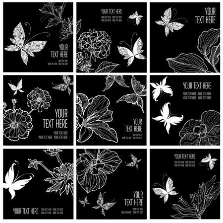 Set of stylish black floral background with butterflies - design elements can be used for invitation, greeting cards Stock Photo