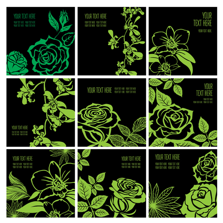 Set of stylish black floral background - design elements can be used for invitation, greeting cards