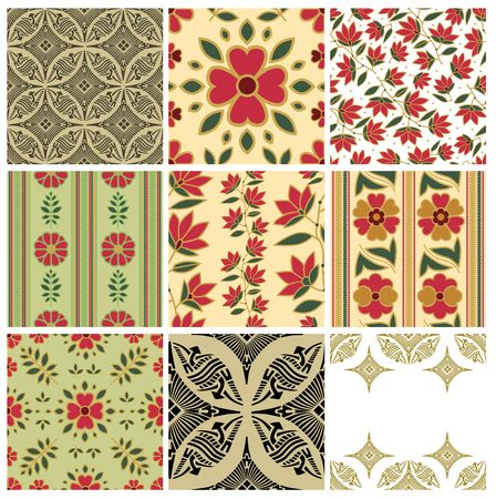 Abstract set of vintage seamless floral pattern - Illustration