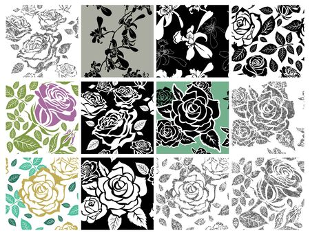 Set of seamless floral pattern from roses, flower design element, plants, leafs