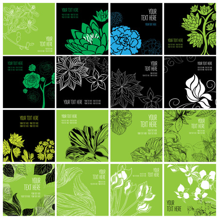 Stylish black floral background - design elements can be used for invitation, greeting cards Stock Photo
