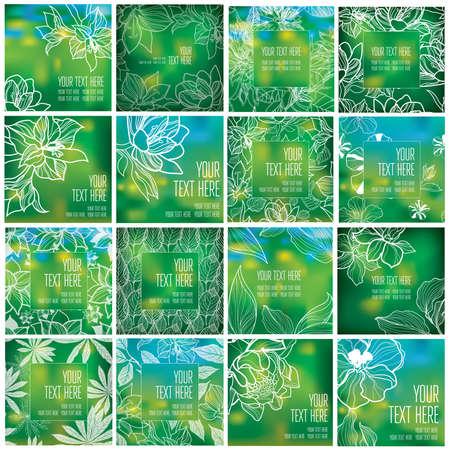 Set of organic natural frames backgrounds - design elements