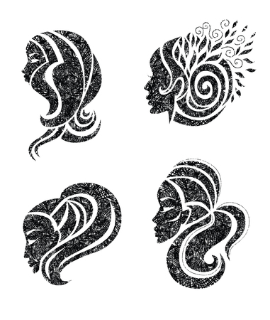 Vector set of illustration of woman with beautiful hair with grunge texture Illustration