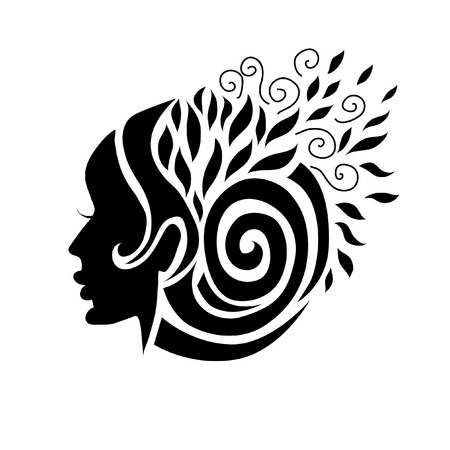 Vector illustration of woman with beautiful hair Illustration