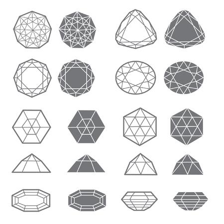 Vector set of diamond design elements - cutting samples. Gemstone. Fashion jewelry.