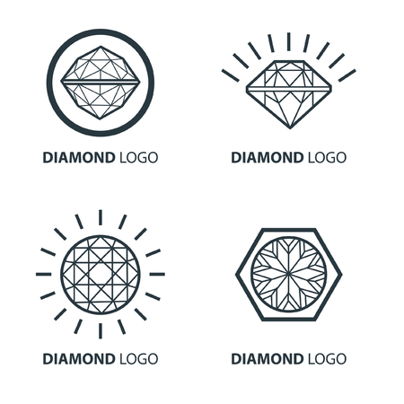 Vector set of black diamond design elements - cutting samples. Gemstone. Fashion jewelry.  矢量图像