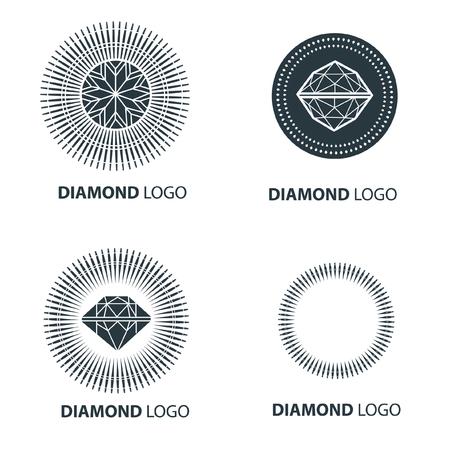 Vector set of black diamond design elements - cutting samples. Gemstone fashion jewelry.