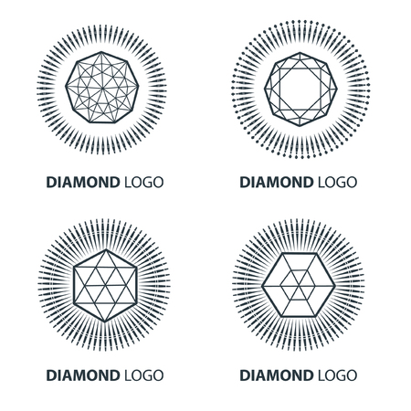Vector set of black diamond design elements - cutting samples. Gemstone. Fashion jewelry.  Ilustração