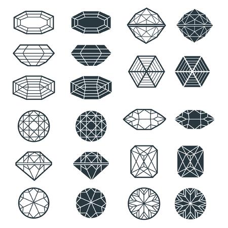Vector set of black diamond design elements Ilustração
