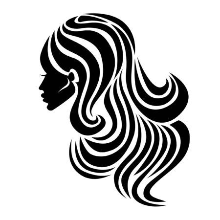 Woman with beautiful hair icon Illustration
