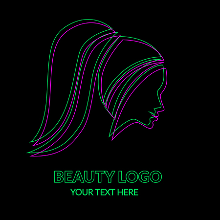 Vector illustration of logos. Neon woman with beautiful hair and flowers on black.