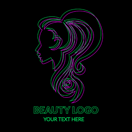 Vector illustration of logos. Neon woman with beautiful hair and flowers on black. Stock Vector - 98757677