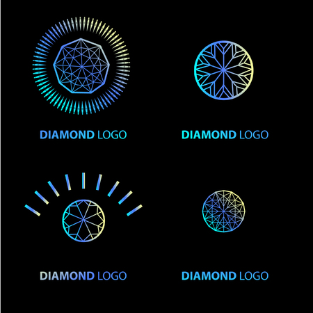 Vector set of neon diamond logos design elements. Cutting samples. Gemstone. Fashion jewelry.