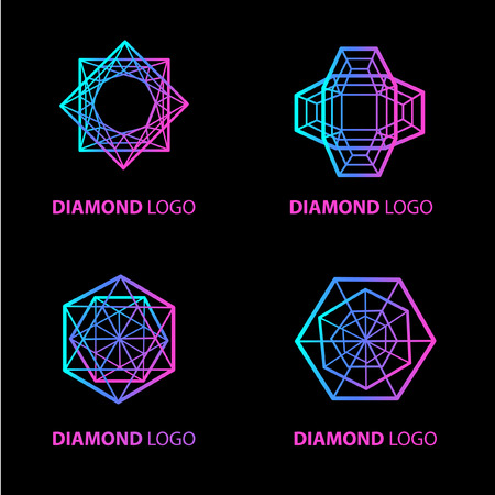 Vector set of neon diamond logos design elements. Cutting samples. Gemstone. Fashion jewelry.
