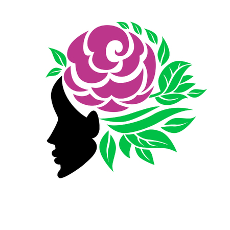 Vector illustration of woman with beautiful hair and flowers - can be used as a logo for beauty salon. Fashion. Beauty. Style logo. Flowers. Stock Vector - 100247406