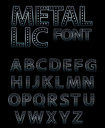 Modul vector metallic lettering - font alphabet. Round letters with lights.