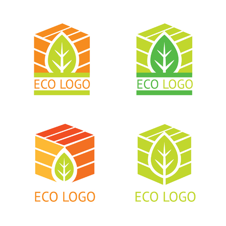 Set of vector ecology logotypes, symbols. Green packaging. Leaf and box.