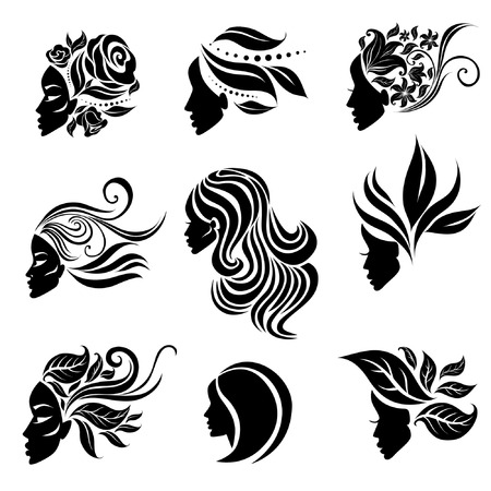 Vector set of woman illustration with beautiful hair and flowers - can be used as a logo for beauty salon. Fashion. Beauty. Style logo. Flowers. Illustration