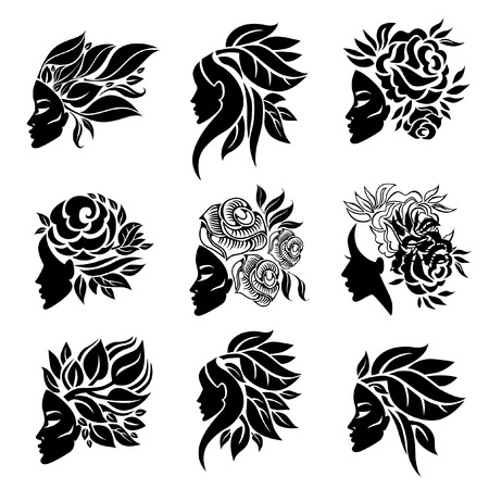 Vector set of woman illustration with beautiful hair and flowers - can be used as a logo for beauty salon. Fashion. Beauty. Style logo. Flowers. Vectores