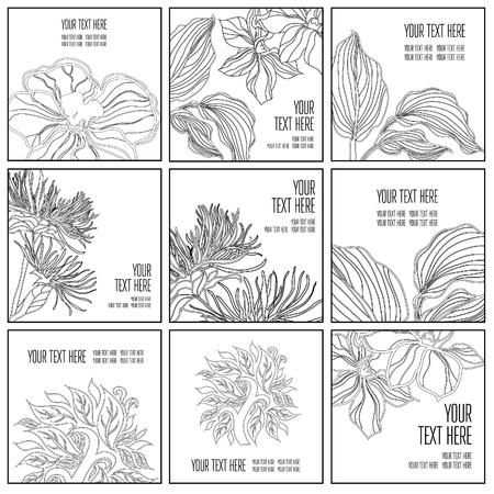 Vector set of stylish black floral background - design elements can be used for invitation, greeting cards. Floral frame Illustration