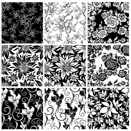 Vector set of seamless floral pattern with decorative flowers design elements