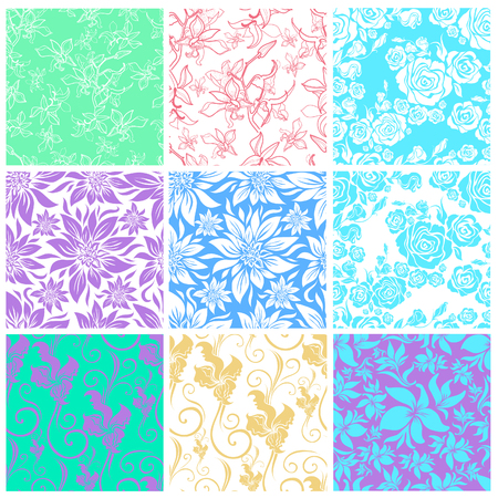 Vector set of seamless floral pattern with decorative pastel flowers design elements