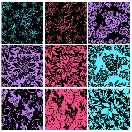 Vector set of seamless floral pattern with color decorative flowers design elements