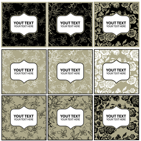 Vector set of stylish vintage floral backgrounds - design elements can be used for invitation, greeting cards. Floral frame