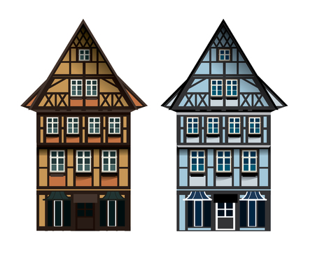 Vector illustrations of german Thalf-timbered house in small town