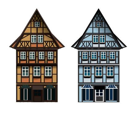 Illustrations vectorielles de T allemand maison à colombages dans une petite ville