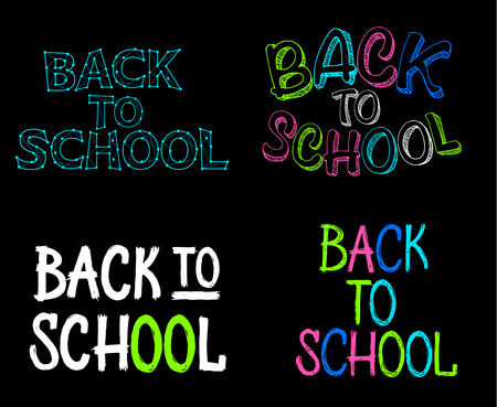 Set of vector lettering signs - illustration Back to school