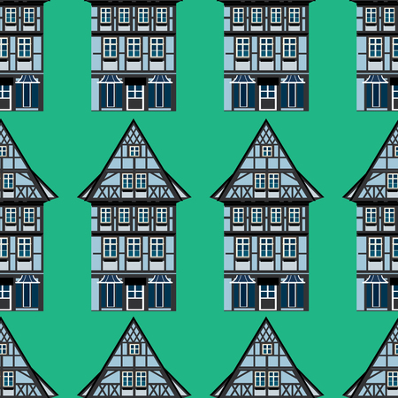 Vector seamless background with illustrations of german Thalf-timbered house in small town Stock Illustratie