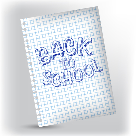 Design vector with hand lettering back to school on notebook cell page.