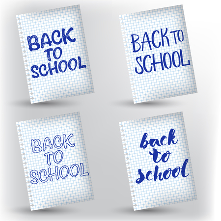 Vector set of design with hand lettering Back to school on notebook cell page.