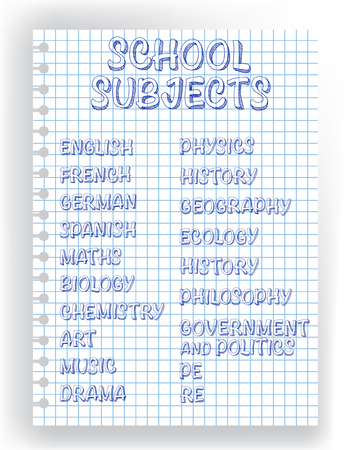 Vector design - hand lettering with list of school subjects. Illustration