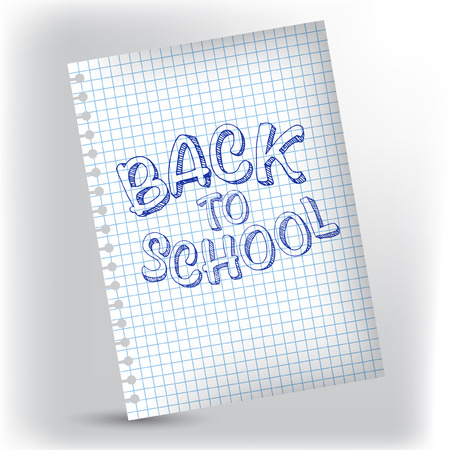 Back to school lettering on notebook page