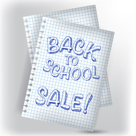 Back to school on notebook page Illustration