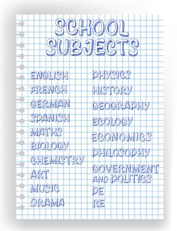 Vector design of school subjects list Illustration
